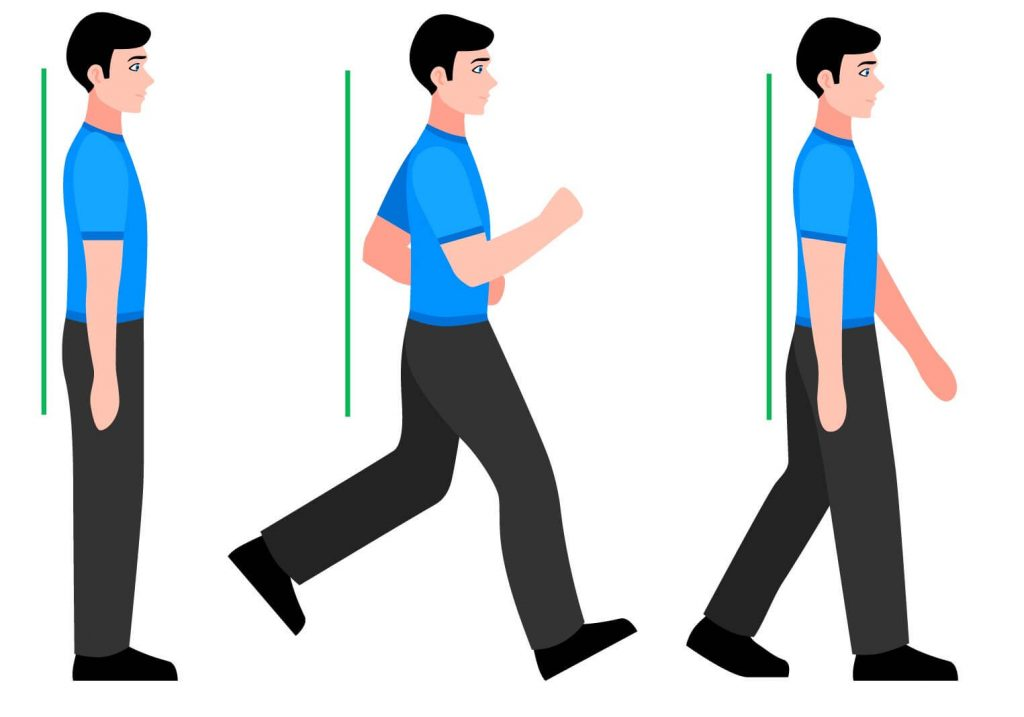 Correct and poor postures when walking